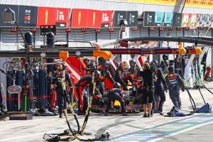Max Verstappen, Red Bull Racing RB16, climbs out of his car and retires from the race