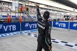 Pole Sitter Lewis Hamilton, Mercedes-AMG F1 celebrates by waving to fans in Parc Ferme