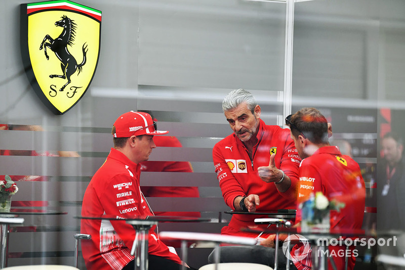 Maurizio Arrivabene, Ferrari Team Principal with Kimi Raikkonen, Ferrari and Sebastian Vettel, Ferrari