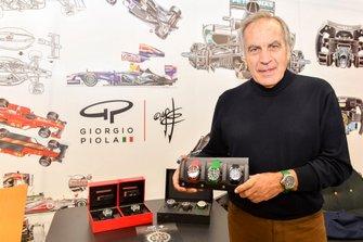 Giorgio Piola with the display of Giorgio Piola Timepieces