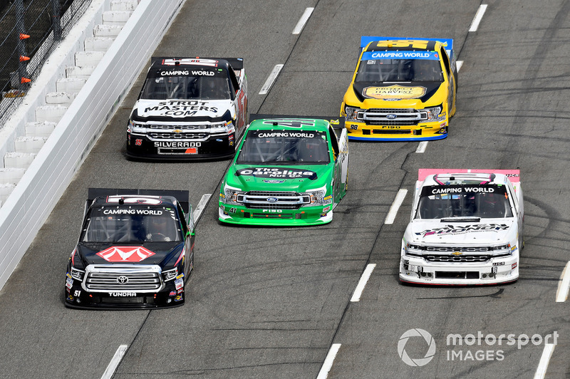 Harrison Burton, Kyle Busch Motorsports, Toyota Tundra Morton Buildings, Jennifer Jo Cobb, Jennifer Jo Cobb Racing, Chevrolet Silverado Driven2Honor, Ben Rhodes, ThorSport Racing, Ford F-150