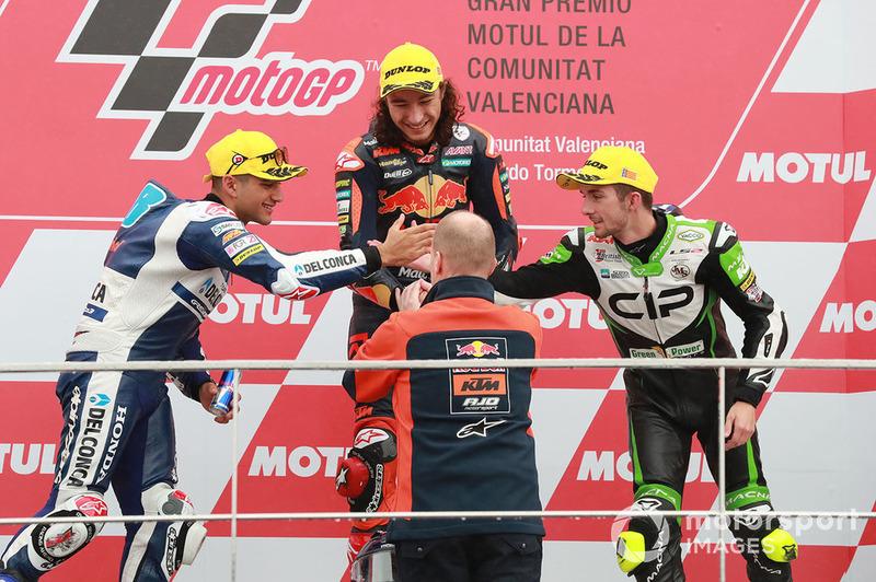 Podyum: Yarış galibi Can Öncü, Red Bull KTM Ajo, 2. Jorge Martin, Del Conca Gresini Racing, 3.John McPhee, CIP Green Power, Aki Ajo, Ajo Motorsport Team Principal