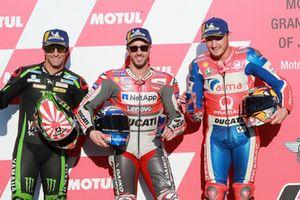 Le poleman Andrea Dovizioso, Ducati Team, le deuxième, Johann Zarco, Monster Yamaha Tech 3, le troisième, Jack Miller, Pramac Racing