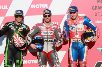 Pole sitter Andrea Dovizioso, Ducati Team, second place Johann Zarco, Monster Yamaha Tech 3, third place Jack Miller, Pramac Racing