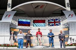 Podium: race winner Charles Leclerc, PREMA Powerteam, second place Artem Markelov, RUSSIAN TIME, thi