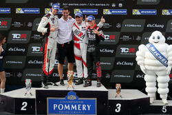Podium: Race winner Norbert Michelisz, M1RA, Honda Civic TCR, second place Dusan Borkovic, GE-Force, Alfa Romeo Giulietta TCR, third place Attila Tassi, M1RA, Honda Civic TCR