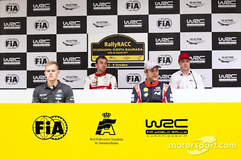 Conferencia de prensa, Stéphane Lefebvre, Citroën World Rally Team, Jari-Matti Latvala, Toyota Racing, Ott Tänak, M-Sport, Andreas Mikkelsen, Hyundai Motorsport