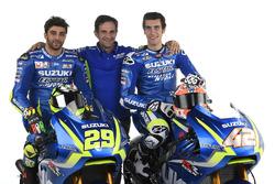 Andrea Iannone, Alex Rins et Davide Brivio, Team Manager, Team Suzuki Ecstar MotoGP