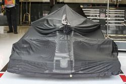 Haas F1 Team VF-17 under covers in the garage