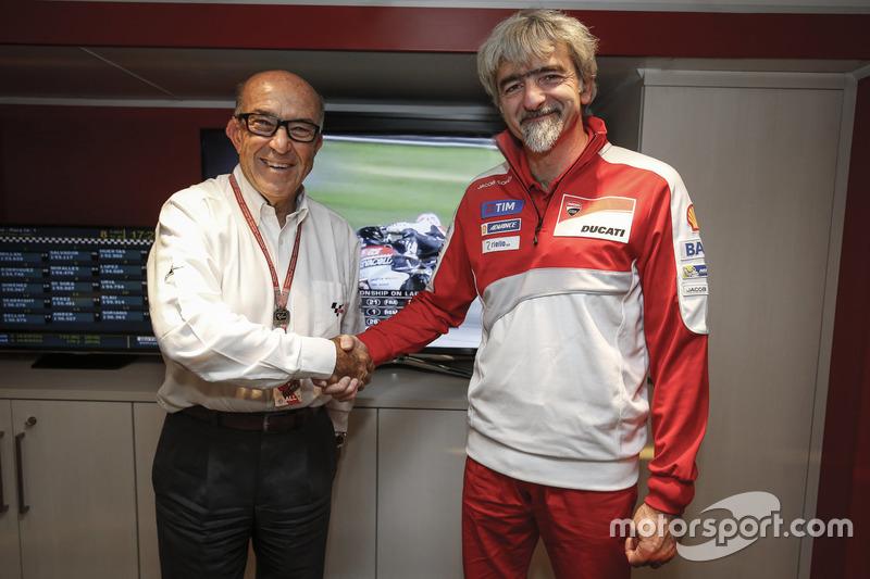 Carmelo Ezpeleta, Dorna CEO, and Gigi Dall'Igna, General Manager Ducati Corse