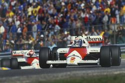 Alain Prost leads Niki Lauda, both McLaren MP4/2B TAG Porsche