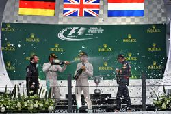 The podium (L to R): Race winner Lewis Hamilton, Mercedes AMG F1 celebrates with second placed team mate Nico Rosberg, Mercedes AMG F1 and third placed Max Verstappen, Red Bull Racing