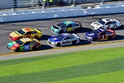 Kyle Busch, Joe Gibbs Racing, Toyota; Joey Logano, Team Penske, Ford; Dale Earnhardt Jr., Hendrick M