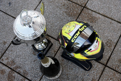 Trophy and helmet of Lando Norris, Carlin Dallara F317 - Volkswagen