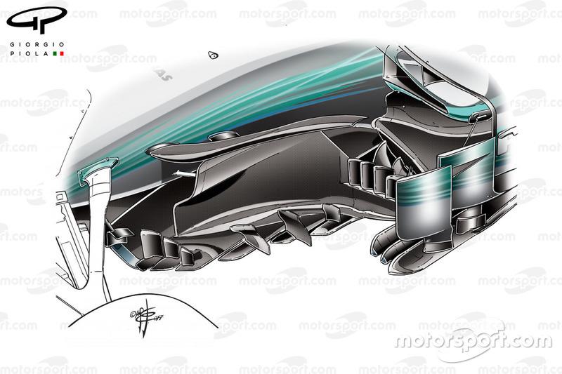 Nuevo bargeboard del Mercedes W08