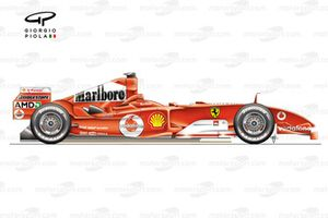 Vue latérale de la Ferrari F2004M