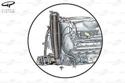 Renault RS27 engine, note oil tank (black vertical container) & KERS unit lower left