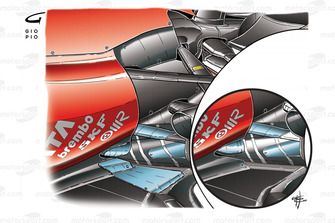 Ferrari F10 lowline exhaust changes (old specification inset) tailpipe revised and metal spatter pla