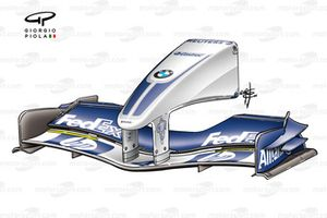 Williams FW26 2004 post-Hungary revised nose