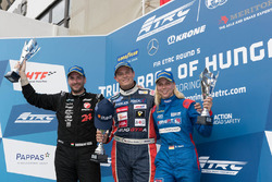 Podium: race winner Adam Lacko, Freightliner , second place Norbert Kiss, Mercedes, third place Steffi Halm, MAN