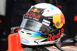 La visière du casque de Daniel Ricciardo, Red Bull Racing
