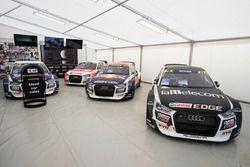 The cars of Toomas Heikkinen, EKS, Audi S1 EKS RX Quattro, Reinis Nitiss, EKS, Audi S1 EKS RX Quattro, Nico Müller, EKS, Audi S1 EKS RX Quattro, Mattias Ekström, EKS, Audi S1 EKS RX Quattro