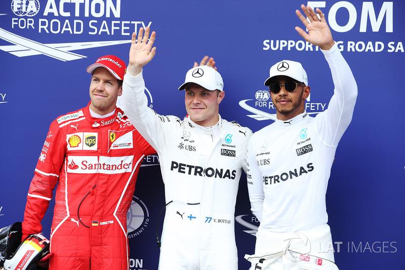 Qualifying Top 3: polesitter Valtteri Bottas, Mercedes AMG F1, second place Sebastian Vettel, Ferrar