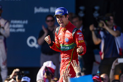 Lucas di Grassi, ABT Schaeffler Audi Sport, celebrates on the podium after winning the championship