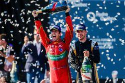 Lucas di Grassi, ABT Schaeffler Audi Sport, and Jean-Eric Vergne, Techeetah, celebrate on the podium