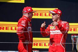 Podium: racewinnaar Sebastian Vettel, Ferrari, tweede plaats Kimi Raikkonen, Ferrari