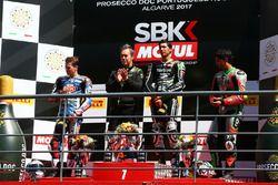 Podium: Florian Marino, Yamaha, Toprak Razgatlioglu, Kawasak