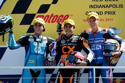 Le podium du GP d'Indianapolis 2011 de Moto2 : Marc Marquez, Pol Espargaro, Tito Rabat