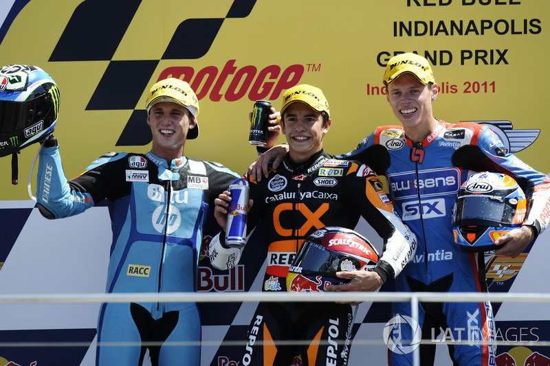 Le podium du GP d'Indianapolis 2011 de Moto2 : Marc Márquez, Pol Espargaró, Tito Rabat