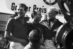 Podium: race winner Juan Manuel Fangio, Maserati, second place Mike Hawthorn, Lancia Ferrari, third place Peter Collins, Lancia Ferrari