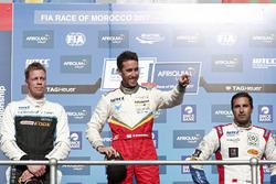 Podium: Race winner Esteban Guerrieri, Campos Racing, Chevrolet RML Cruze TC1, second place Thed Björk, Polestar Cyan Racing, Volvo S60 Polestar TC1, third place Mehdi Bennani, Sébastien Loeb Racing, Citroën C-Elysée WTCC
