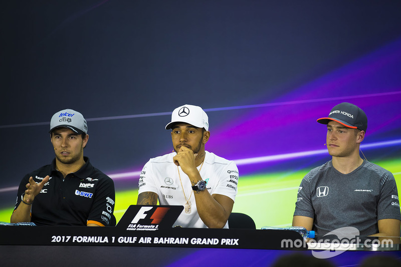 Sergio Perez, Force India, Lewis Hamilton, Mercedes AMG, Stoffel Vandoorne, McLaren, in the press conference