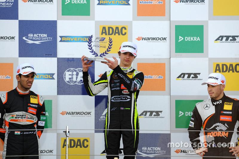 Rookie Podium: first place Lando Norris, Carlin, Dallara F317 - Volkswagen, second place Jehan Daruvala, Carlin, Dallara F317 - Volkswagen , third place Joey Mawson, Van Amersfoort Racing, Dallara F317 – Mercedes-Benz