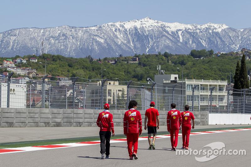 Sebastian Vettel, Ferrari, Antonio Giovinazzi, Ferrari Test and Reserve Driver and Edoardo Brosco wa