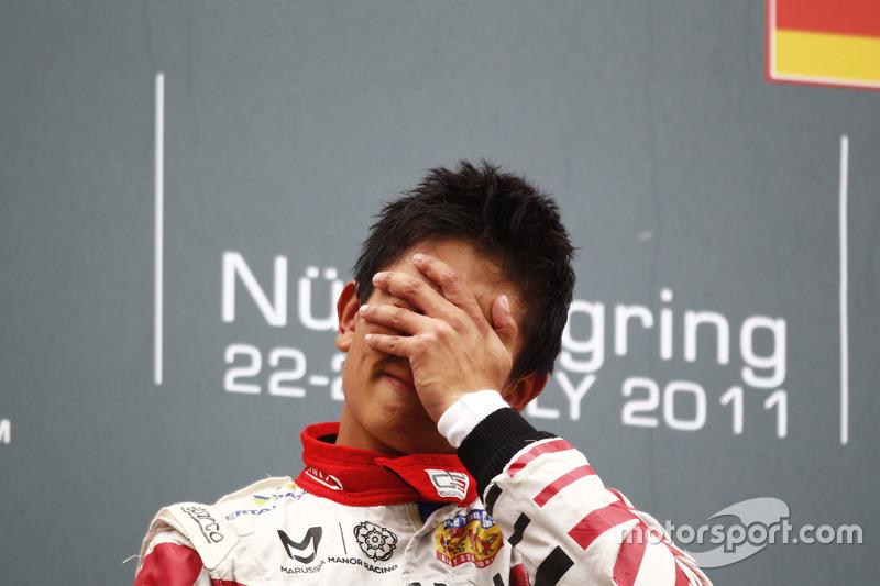 Rio Haryanto tak kuasa menahan air mata setelah memenangi Race 1 GP3 Jerman 2011, yang berjalan secara dramatis di tengah cuaca buruk.