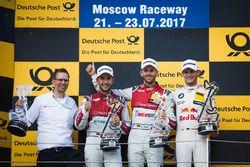 Podium: Race winner René Rast, Audi Sport Team Rosberg, Audi RS 5 DTM, seocnd place Mike Rockenfelle