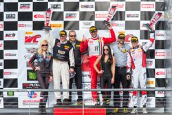 Podium: GT winner Johnny O'Connell, GTA winner Frankie Montecalvo, GT Cup winner Sloan Urry