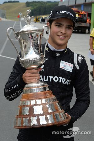 Winner Pedro Piquet with his trophy