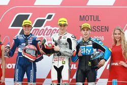 Podium: winner Francesco Bagnaia, Aspar Team Mahindra, second place Fabio Di Giannantonio, Gresini Racing Team Moto3, third place Andrea Migno, Sky Racing Team VR46