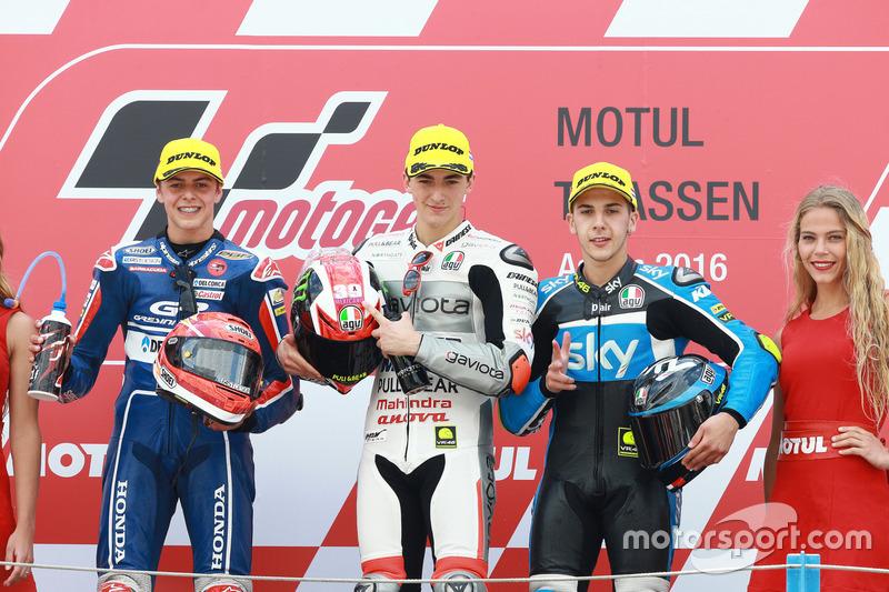 Podyum: 1. Francesco Bagnaia, Aspar Team Mahindra, 2. Fabio Di Giannantonio, Gresini Racing Team Moto3, 3. Andrea Migno, Sky Racing Team VR46