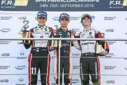 Rookie podium: Lando Norris, Josef Kaufmann Racing, Sacha Fenestraz, Tech 1 Racing, Gabriel Aubry, Tech 1 Racing
