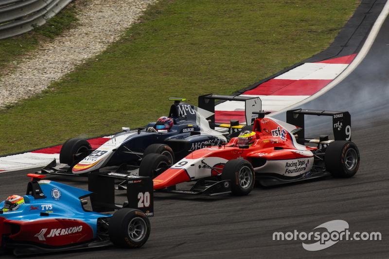 Arjun Maini, Jenzer Motorsport, vor Steijn Schothorst, Campos Racing, und Jake Dennis, Arden International