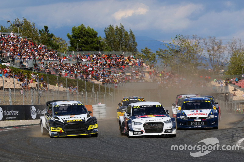 Race action, Timur Timerzyanov, World RX Team Austria; Mattias Ekström, EKS RX; Johan Kristoffersson, Volkswagen Team Sweden