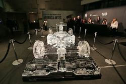 An show car made of ice on display at an Inter / Sahara Force India F1 Team event