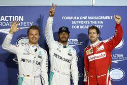 Polesitter Lewis Hamilton, Mercedes AMG F1 Team, 2. Nico Rosberg, Mercedes AMG F1 Team, 3. Sebastian