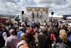 Podium: race winner Colin Turkington, Silverline Subaru BMR Racing; second place Mat Jackson, Motorb